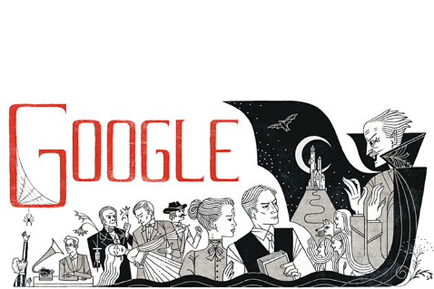 Google celebrates Bram Stoker's books with a doodle on his 165th birthday
