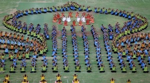 Students perform yoga during full dress rehearsal ahead of World Yoga Day in Ahmedabad