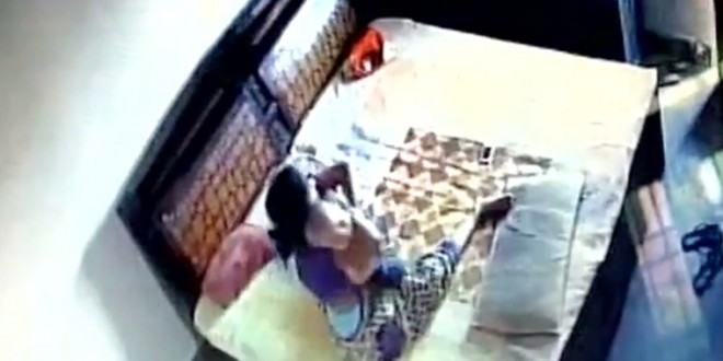 Disturbing CCTV visuals show woman beating son in Bareilly